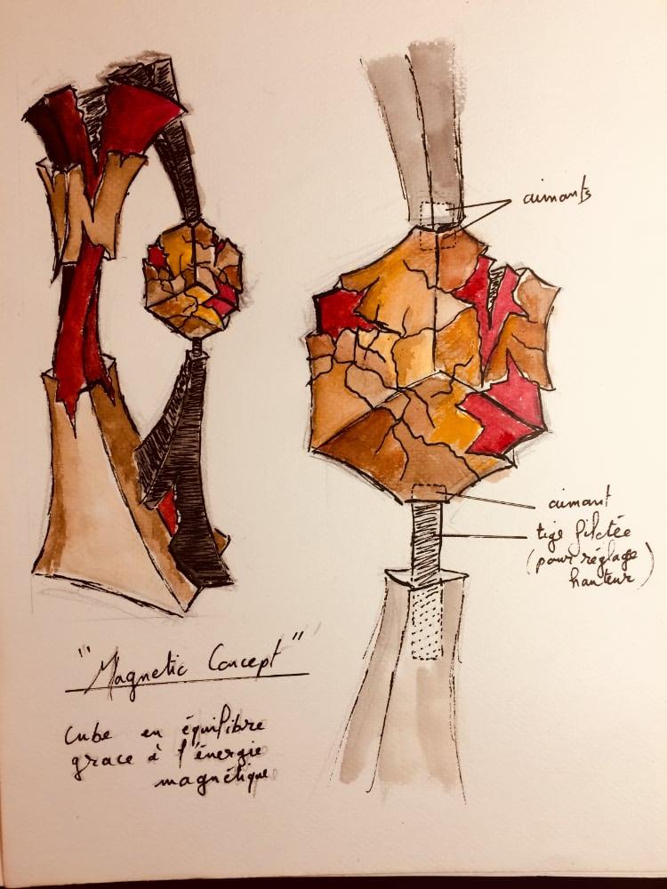 Sculpteur contemporain Alexandre Berlioz - Esquisse Magnetic Concept